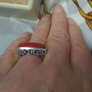 EXQUISITE Bali Style Red Coral Sterling Ring